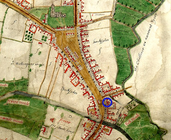 Extract from John Walker's map of 1591 showing the Boar's Head