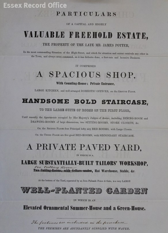 Extract from the Sales Catalogue of 1849. The property contains a handsome bold staircase which led to a large suite of rooms on the first floor. The document also mentions that the apartments were recently occupied by the Judges of the Assize. (D/DU 755/45).