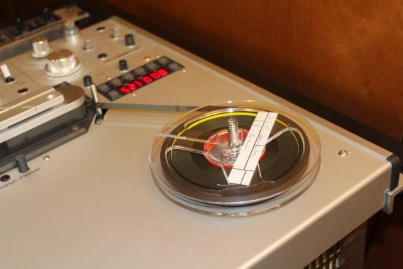 Photograph of an open reel tape on player