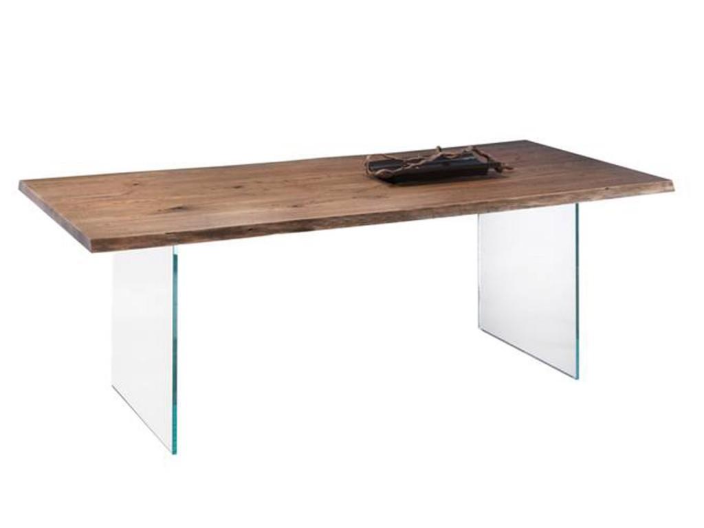 Eiche Esszimmertisch Hadir 1 mit Tischwangen aus Glas