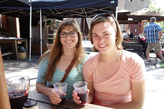 You can eat and/or drink at the convent. Pictured: Amy and Katy with sangria.