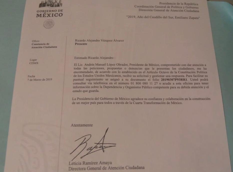 Ex sargento pide en misiva restitución de derechos y empleo
