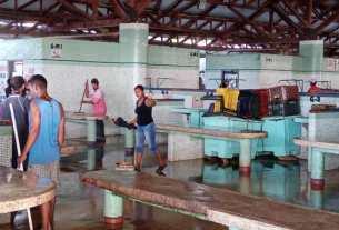 Los locatarios y trabajadores del mercado del Pescado, se sumaron a la desinfección