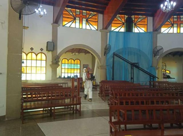 Las iglesias fueron incluidas en la desinfección del municipio Gómez, por parte de Protección Civil