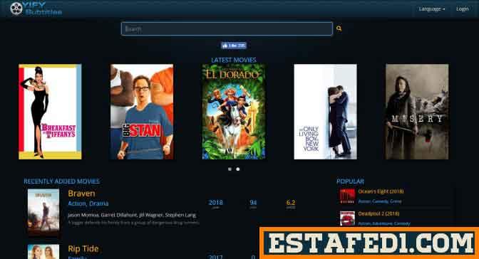 موقع YIFY Subtitles يضم مئات الآلاف من ترجمات الافلام بجميع لغات العالم