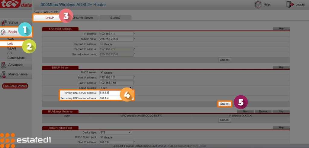 تغيير عناوين DNS في راوتر te data