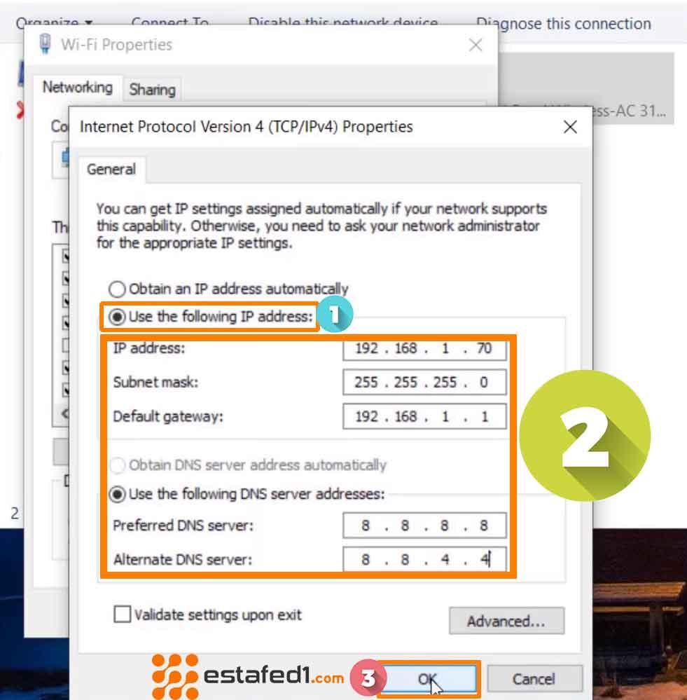تعيين رقم IP مخصص للكمبيوتر step 4