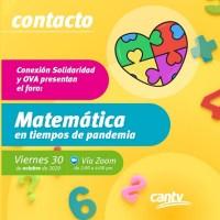 """Cantv y OVA invitan a padres y docentes al foro """"Matemática en tiempos de pandemia"""""""