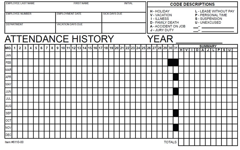 employee attendance records