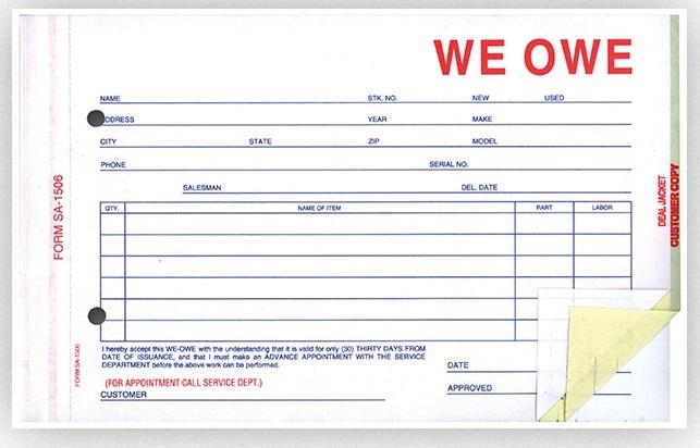 Buy We Owe Forms | Buy Now - Estampe