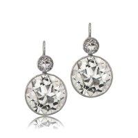 Old Mine Cut Diamond Earrings - Estate Diamond Jewelry