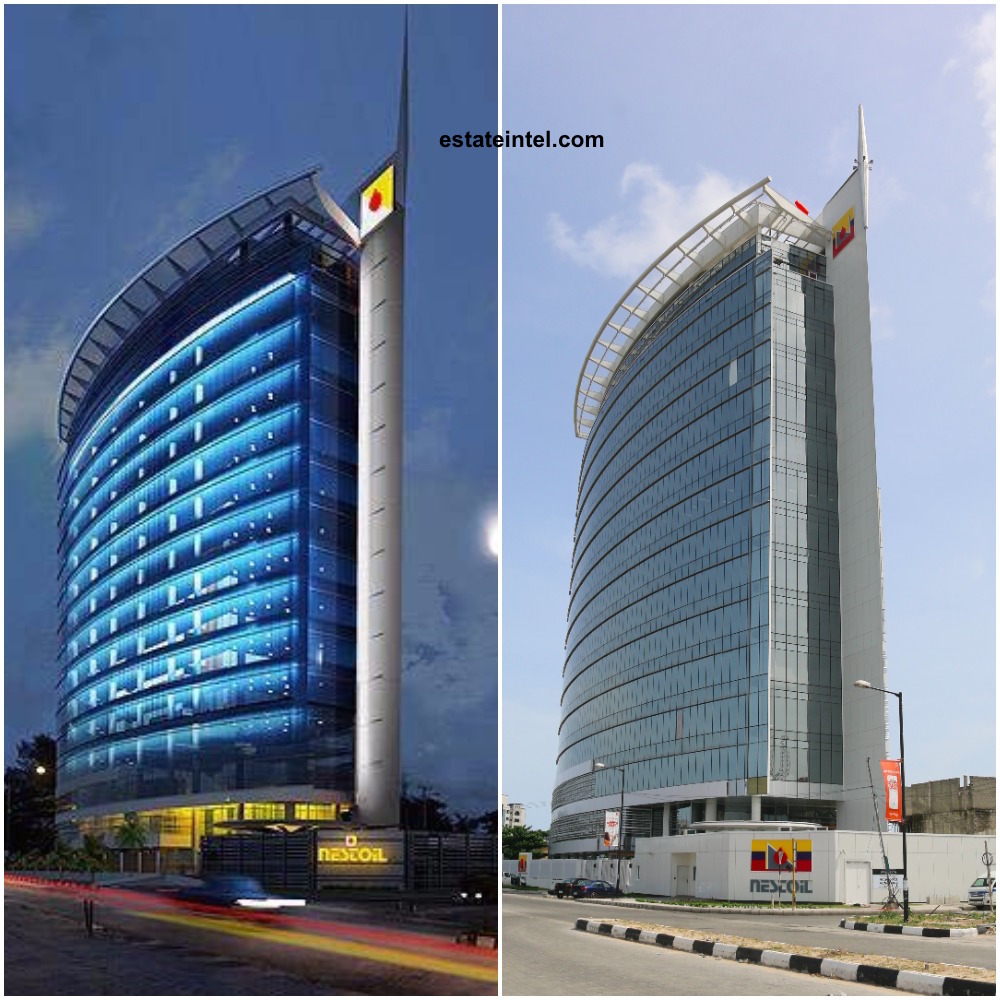 Victoria/Nestoil Tower. Computer Generated Image vs Completed/Current Status. Image Source: Dolapo Omidire.