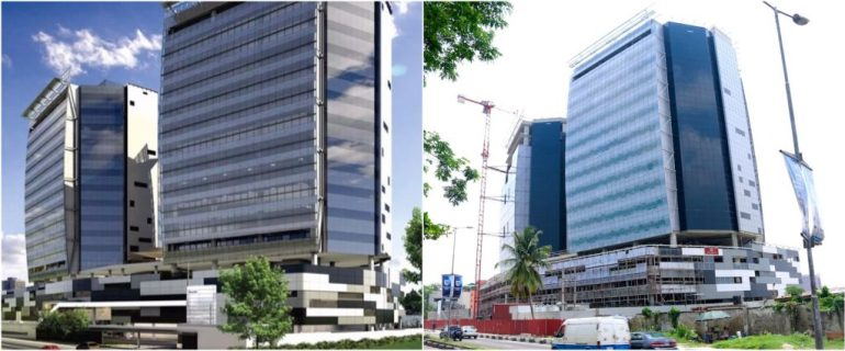 The Wings Towers. Computer Generated Image vs Completed/Current Status. Image Source: Dolapo Omidire.