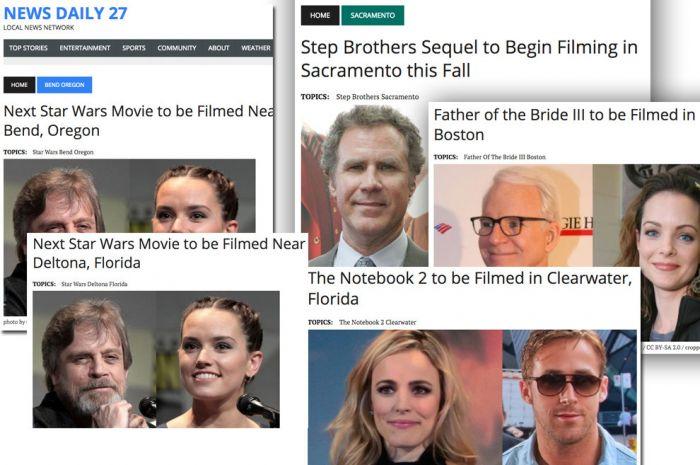 Star Wars, Harry Potter, Forrest Gump, The Notebook, Step Brothers y más títulos, en lugares como Phoenix, Lafayette, Flagstaff y más, comenzaron a inundar el News Feed de miles de usuarios. Inventar en la red