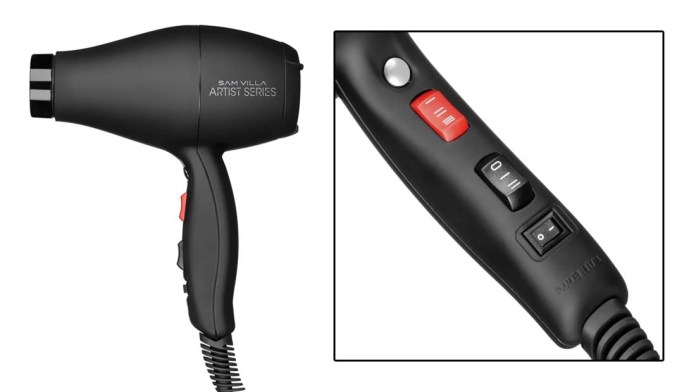 Turn to the Cool Shot Button for High Gloss finishes Sam Villa Artist Series Professional Blow Dryer