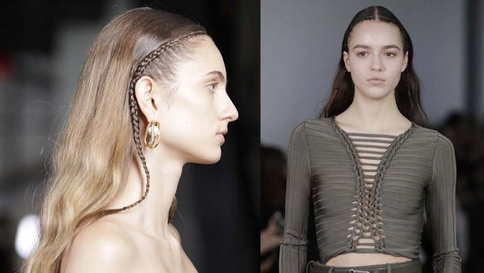 Get the NYFW Look! Dion Lee's Strong, Natural Looks with Delicate Braids by Eugene Souleiman