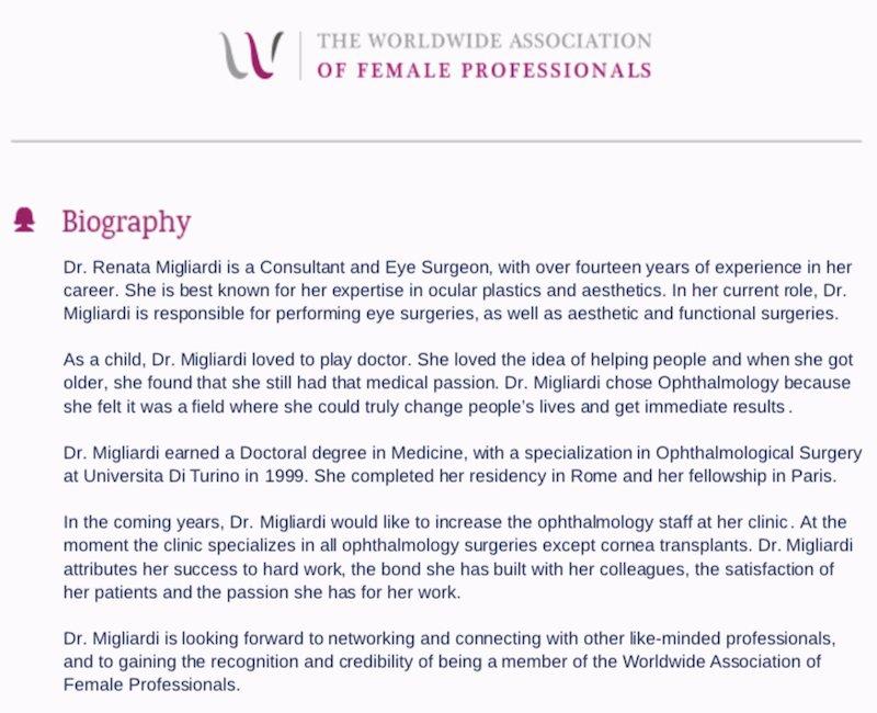 Worldwide Association of Female Professionals Award Biography