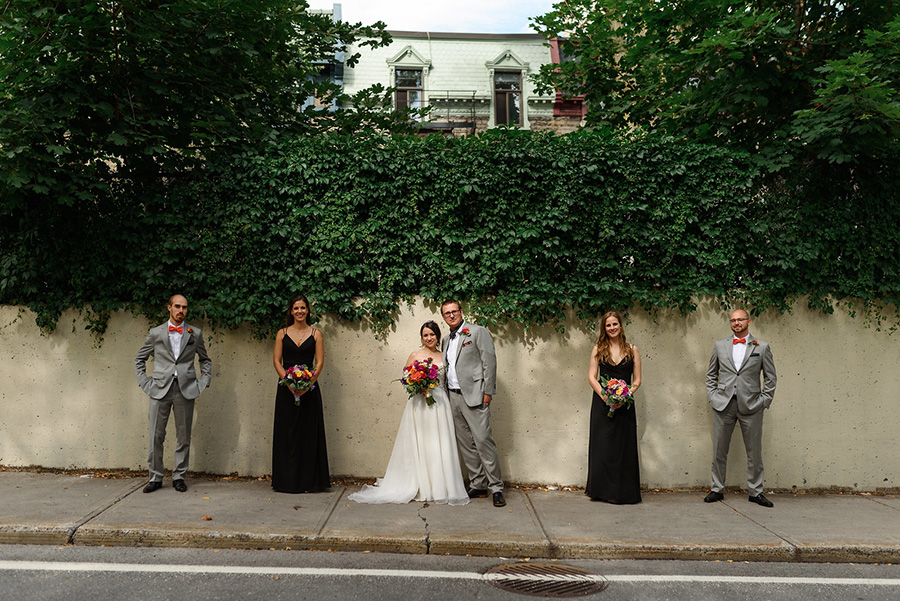 Wedding party group portrait in Montreal