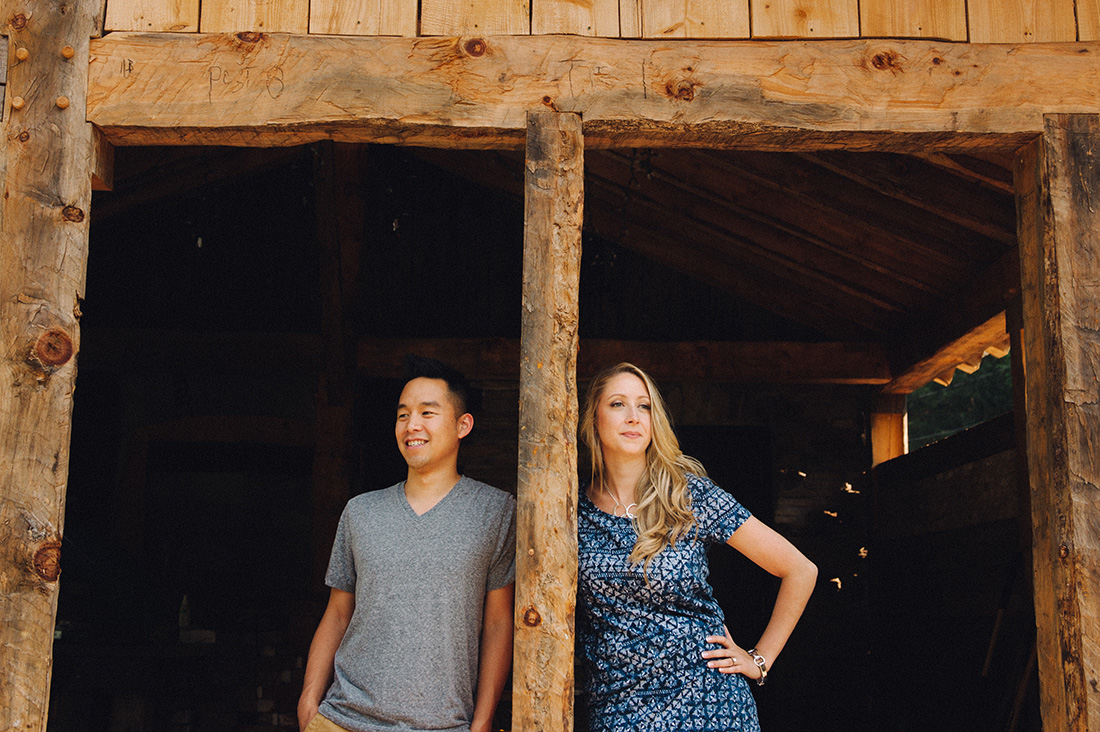 Engaged couple in barn