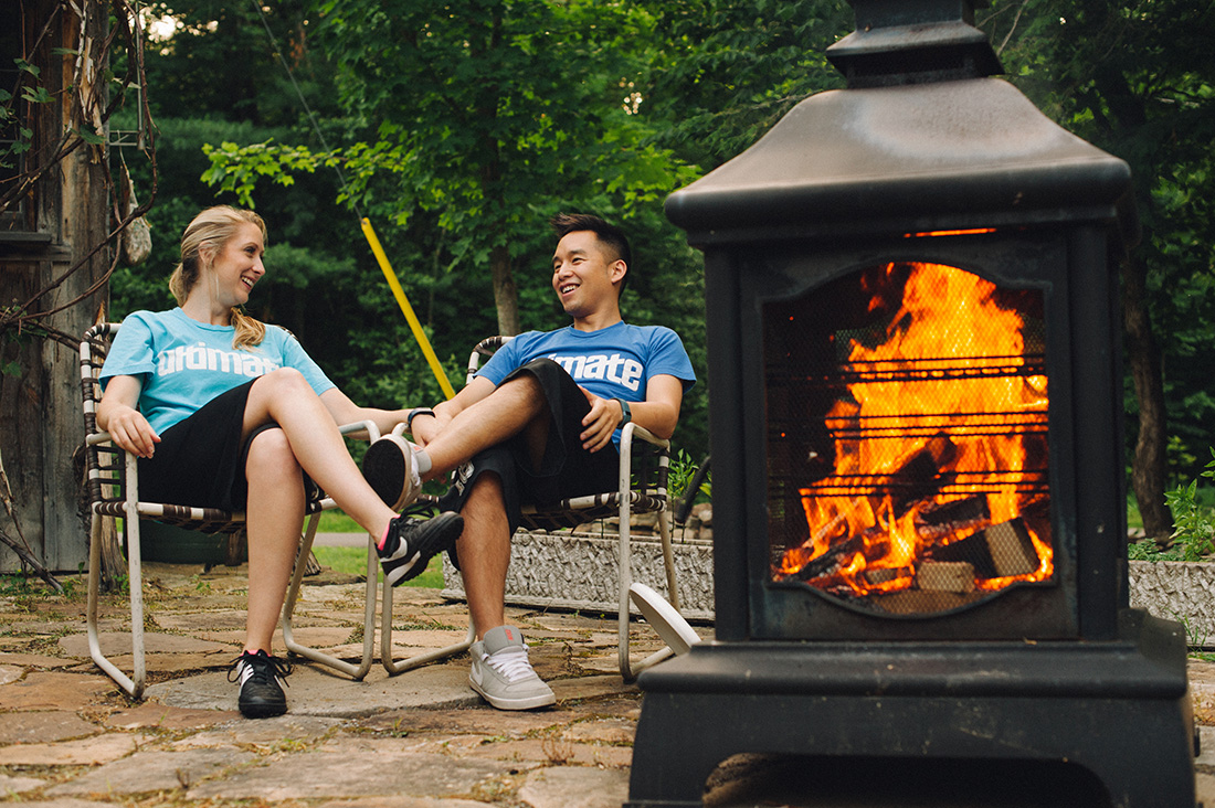 Fire pit casual engagement session