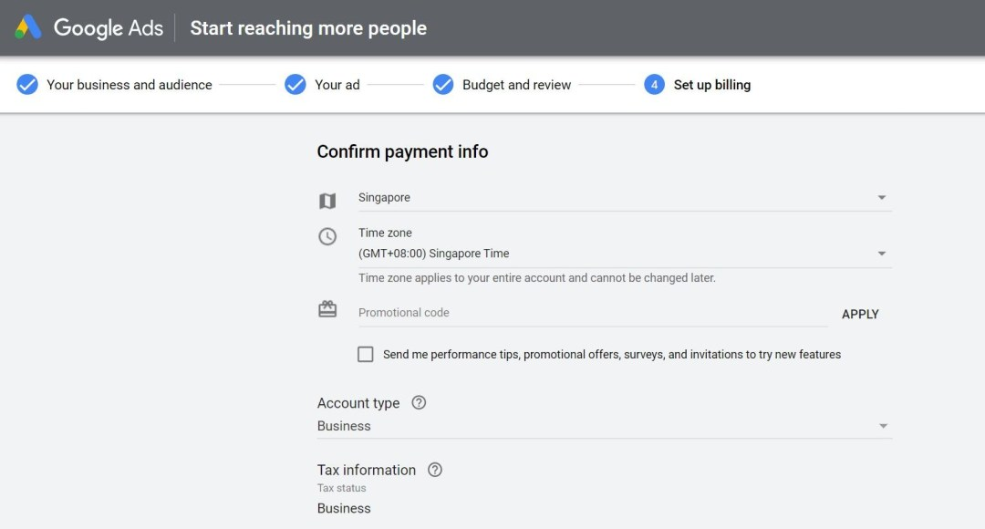 Google Ads-Business information- Esther Goh Tok Mui