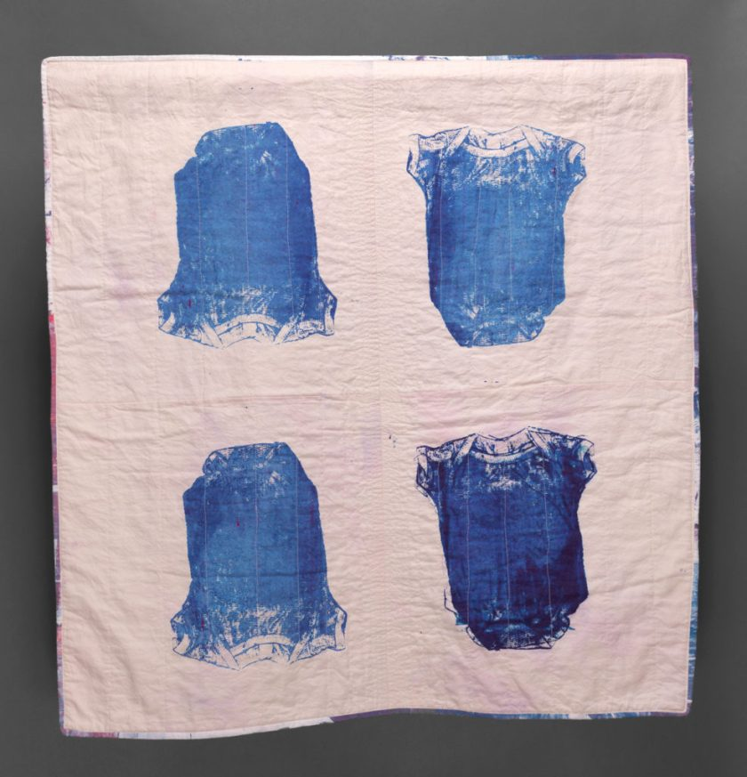 """Esther S White, New Rhythm, 2016, 39""""x39""""; cotton, fiber-reactive dye; screen-printed, machine stitched and quilted"""