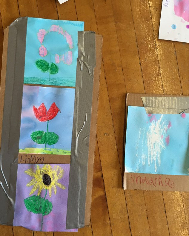 Personal Imagery: watercolor resist lesson for Girls Inc, Winter 2016