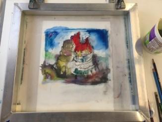 Watercolor Silkscreen Monotype