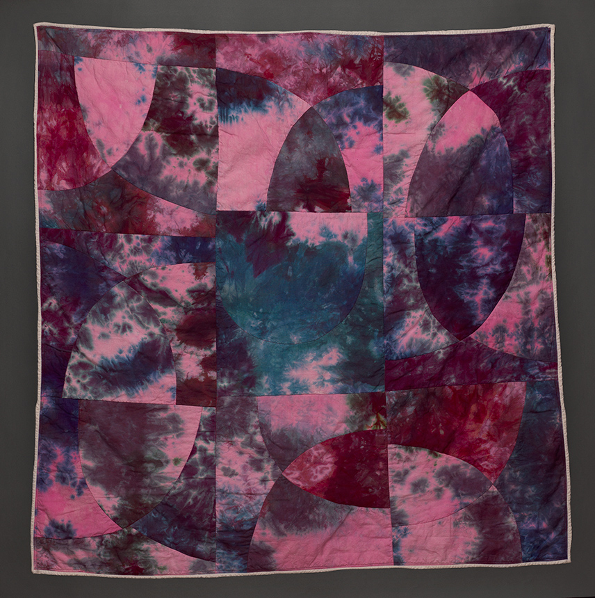 """Esther S White, Curve Study #2, 2016, 48""""x48""""; cotton, fiber-reactive dye; machine stitched and quilted"""