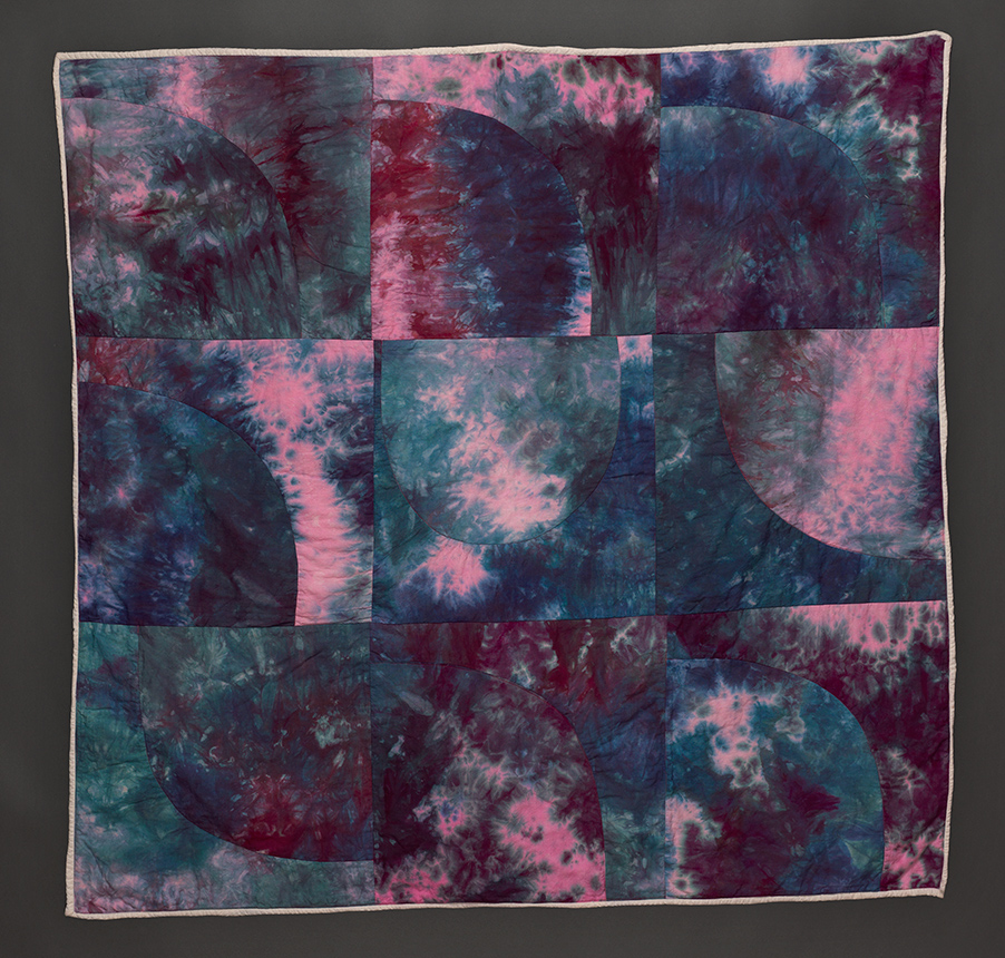"""Esther S White, Curve Study #1, 2016, 48""""x48""""; cotton, fiber-reactive dye; machine stitched and quilted"""