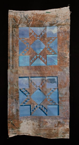 Esther S White, Untitled quilt block study, 2014; cotton, fiber-reactive dye, ink; deconstructed screen printed, silk screened
