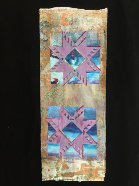 Esther S White, Untitled quilt block study, 2014; cotton, fiber-reactive dye, ink; deconstructed screen printed, silk screened, machine stitched