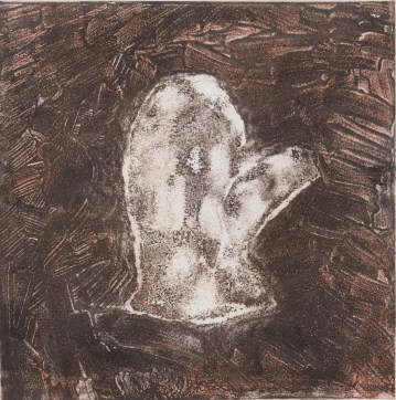 """ESW, Clothes that are too small or no longer needed (fleece mitten), 2017, carborundum collagraph monoprint, 8""""x8"""""""
