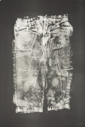 "Esther S White, Clothes that are too small or no longer needed (toddler jeans), 2017, gelatin plate monotype, 16""x21"""