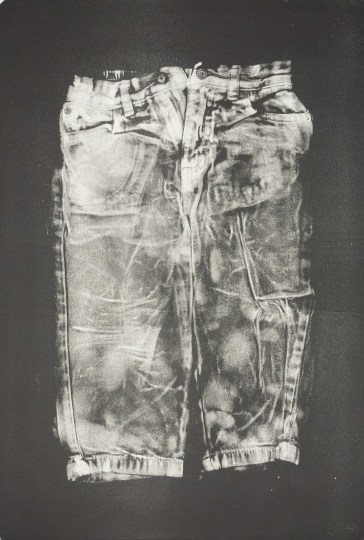 """Esther S White, Clothes that are too small or no longer needed (toddler jeans), 2017, gelatin plate monotype, 16""""x21"""""""