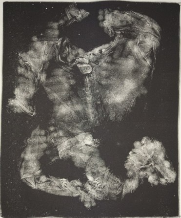 """Esther S White, Clothes that are too small or no longer needed (pajamas with feet), 2017, gelatin plate monotype, 16""""x21"""