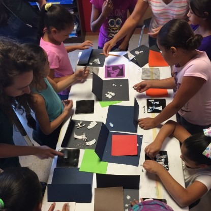 Story Quilt printmaking lesson at Girls Inc., Summer 2017.