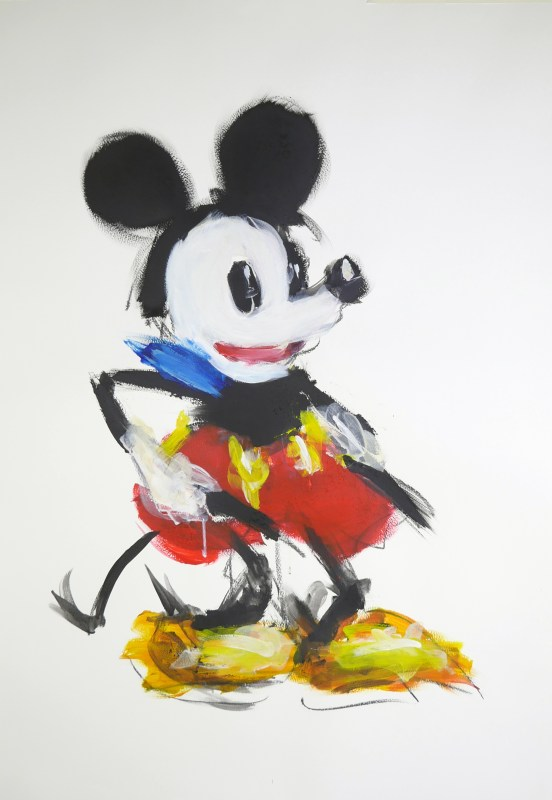 Two-gun_Mickey_75x110cm_Acrylic_and_charcoal_on_300g_paper