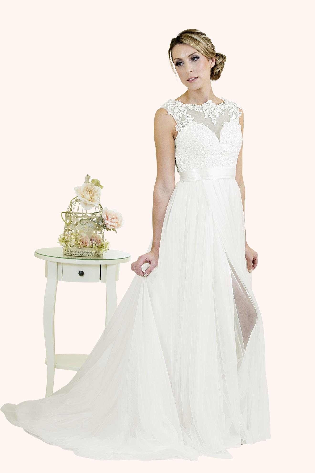 Evie  Stunning Lace Illusion Neckline Wedding Dress