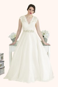 Catherine - Lace V Neck Cap Sleeve Wedding Dress