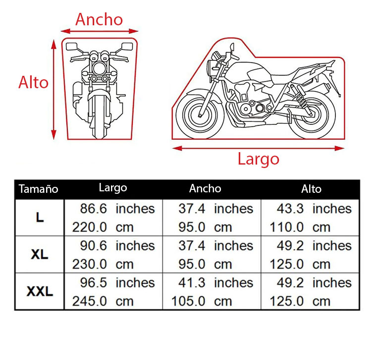 Medidas funda protectora moto