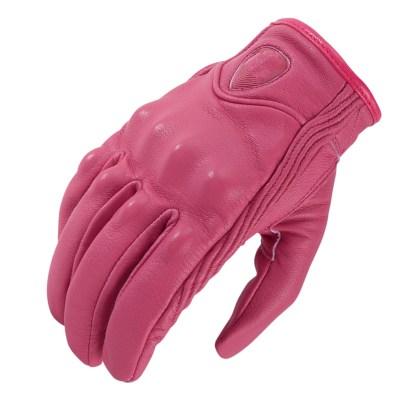Guantes cuero rosa para moto estilo motero
