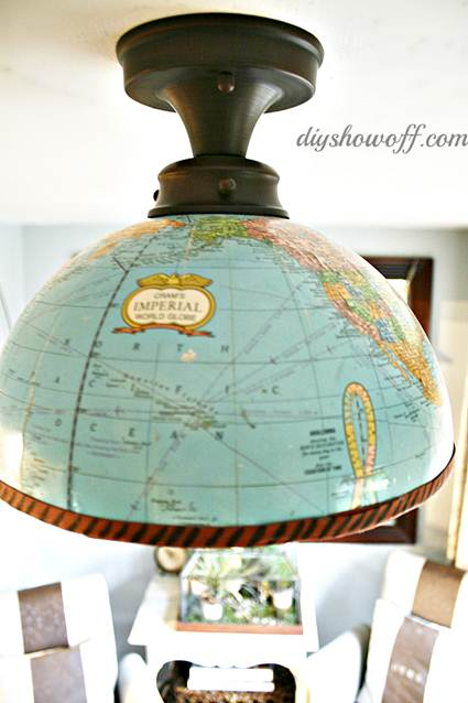 Una lmpara hecha con un globo terrqueo  Decoracin de