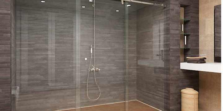 Mampara de vidrio en la ducha