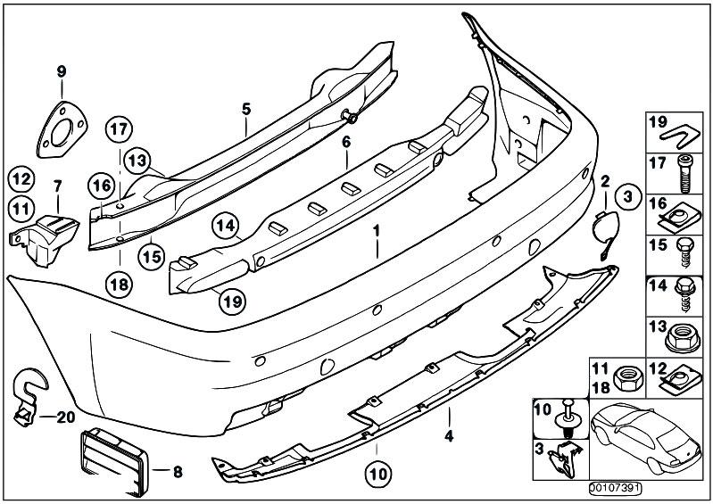 Original Parts for E46 M3 S54 Coupe / Vehicle Trim/ M Rear