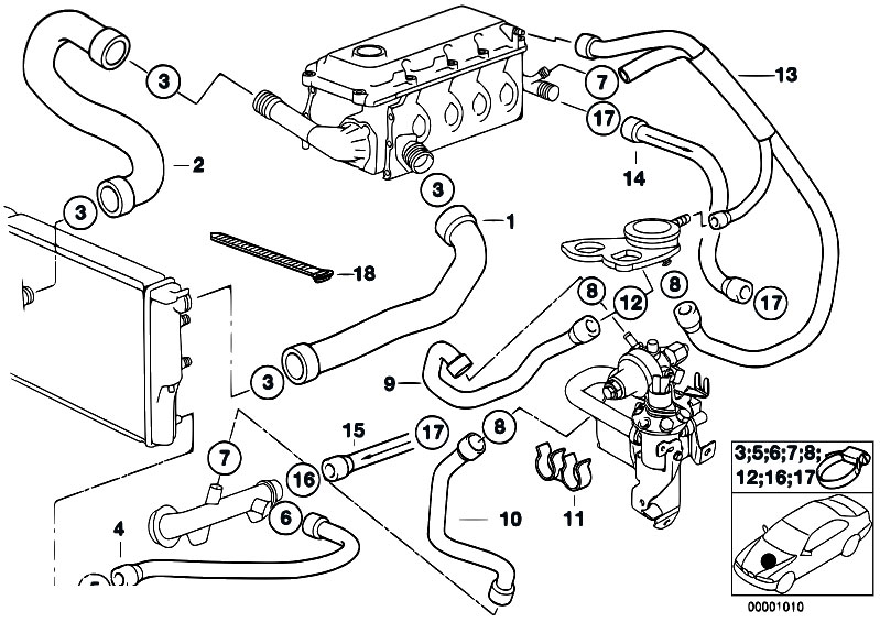 Original Parts for E34 518g M43 Touring / Engine/ Cooling