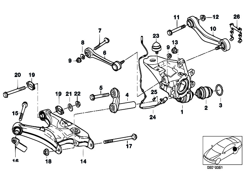 Original Parts for E39 540i M62 Touring / Rear Axle/ Rear