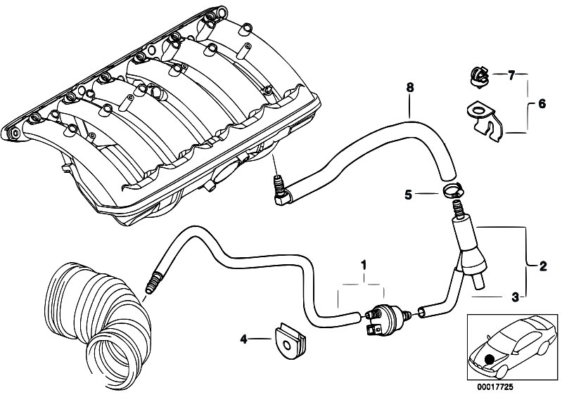 Original Parts for E46 320i M52 Sedan / Engine/ Vacuum