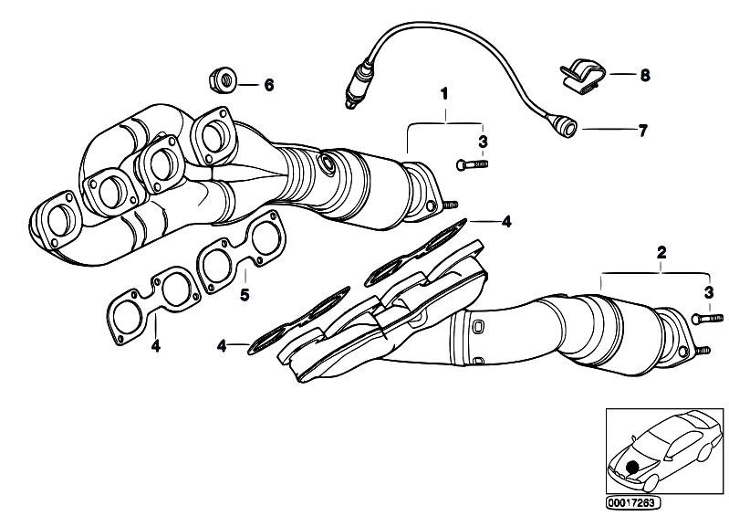 Original Parts for E38 735i M62 Sedan / Engine/ Exhaust