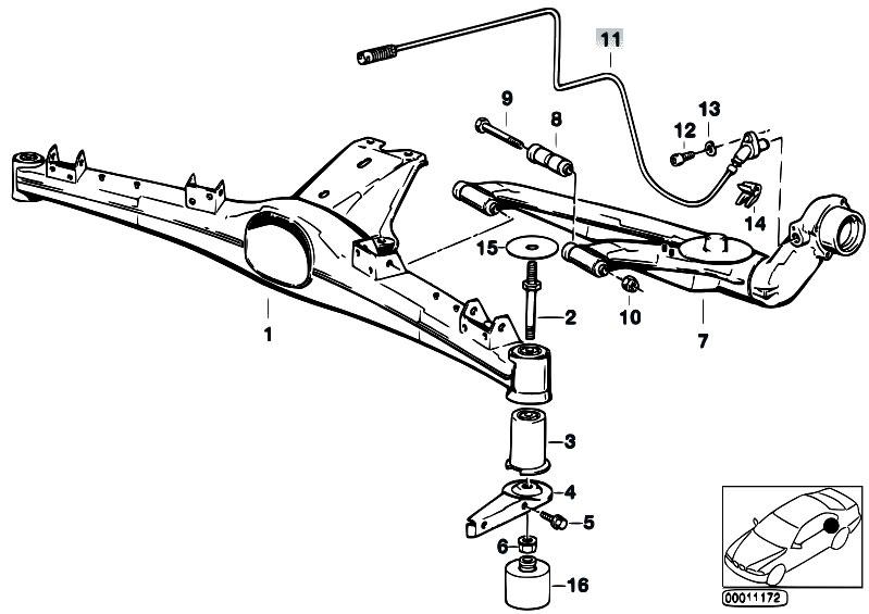 Original Parts for Z3 Z3 2.8 M52 Roadster / Rear Axle